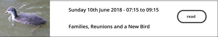 read  Sunday 10th June 2018 - 07:15 to 09:15   Families, Reunions and a New Bird read